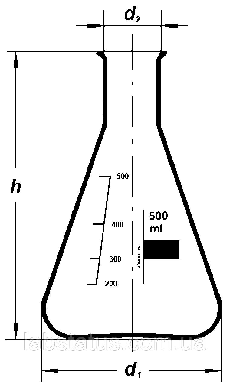 Колба коническаая с градуировкой 100мл, Boro 3.3, ТС