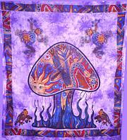 """Покрывало Mushroom """"Гриб"""" фиолетовое 100% хлопок"""