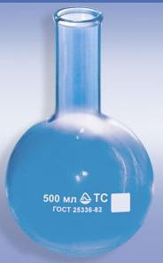 Колба круглодонная К-2 с цилиндр. горл., 500мл, D-105мм, ТС