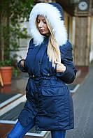"""Куртка """"парка"""" утепленная мехом, капюшон с искусственным мехом енота"""
