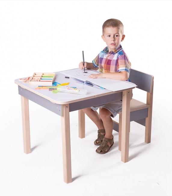 Столик парта детская ( с ящиком) для рисования с машинкой, фото 1