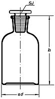 Бутыль для реактивов с пришлиф. пробкой 60мл (уз. горло, св. стекло)