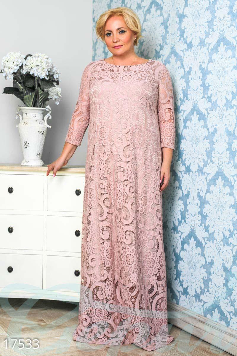d65f46e868d Вечернее гипюровое платье в пол. Большие размеры. - Гарна пані - е-магазин