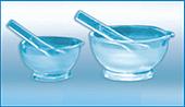 Ступка стеклянная с пестом 75мл (h-40мм, d-75мм), ХС