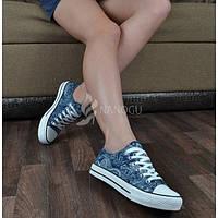 Кеды слипоны женские на шнуровке «Восточные мотивы» TM ABC, Синий, 39