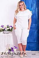 Женская льняная блуза большого размера белая
