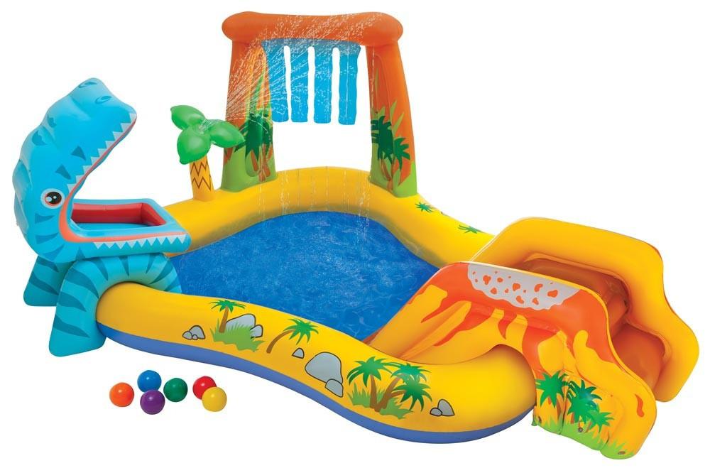 Водный игровой центр-бассейн с горкой Intex 57444, Динозавр