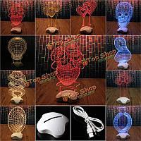 Творческая оптическая иллюзия 3D свет офиса декора дома подарок световой индикатор USB света стол настольная лампа