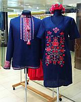 Мужская вышиванка темно-синий лен красно-белая вышивка
