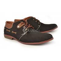 Туфли мужские кожаные нубук черные Harrison Украина, Черный, 45