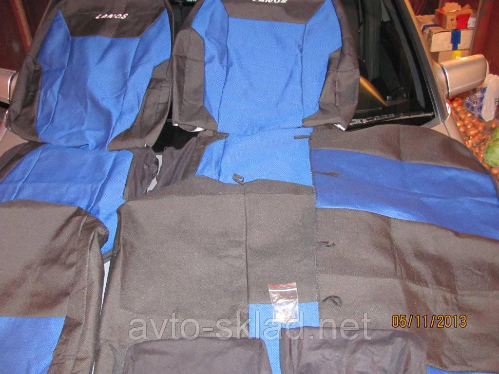 Чехлы сидений Daewoo Lanos Sens плотные синие