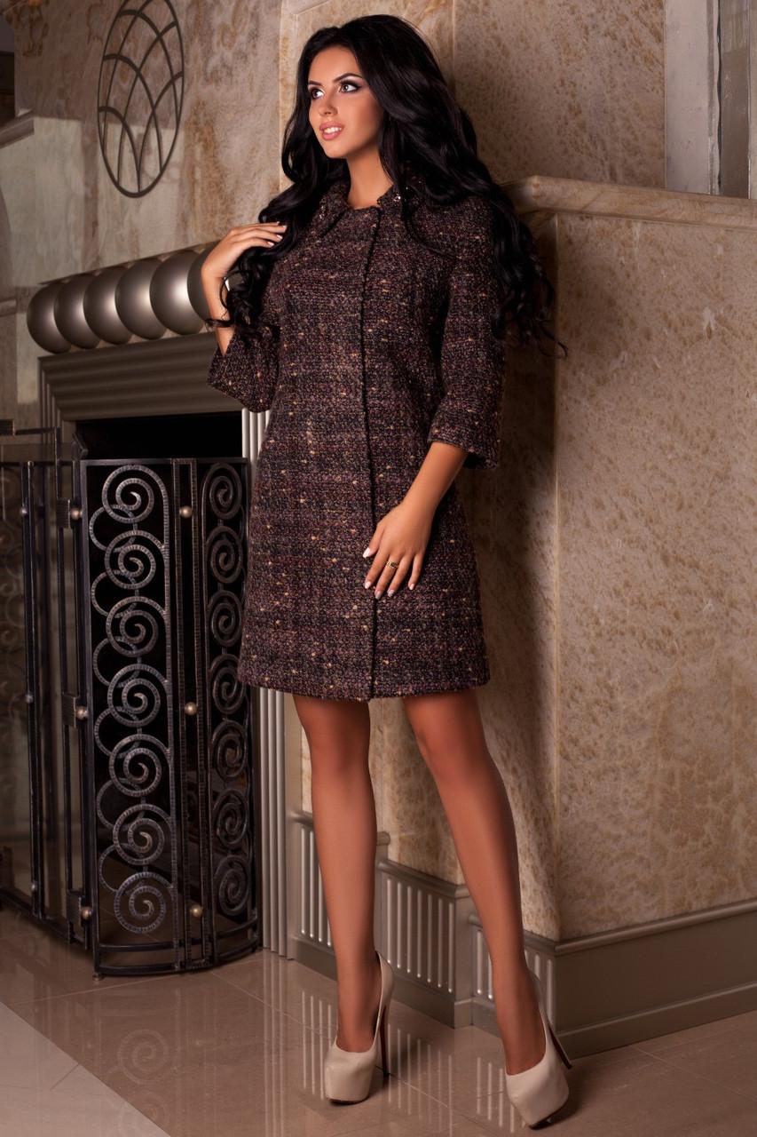 Качественное коричневое женское осеннее пальто арт. 965 Тон 7