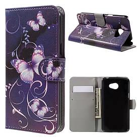 Чехол книжка для LG K5 X220DS боковой с отсеком для визиток, Фиолетовая бабочка
