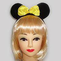 Уши Микки Мауса черные с бантом (ткань), фото 1
