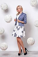 Костюм  платье в принт голубые цветы с пышной юбкой, фото 1