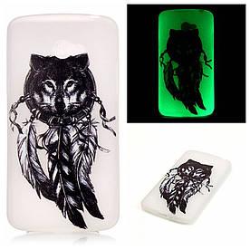 Чехол накладка для LG K5 X220DS силиконовый светящийся, Волк и ловец снов