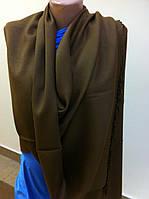 Модный коричневый  однотонный  палантин с бахромой