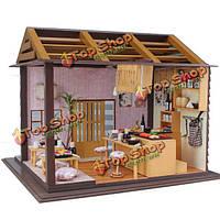 Hoomeda DIY дерево кукольный миниатюрная с LED + мебель + крышка суши-бар