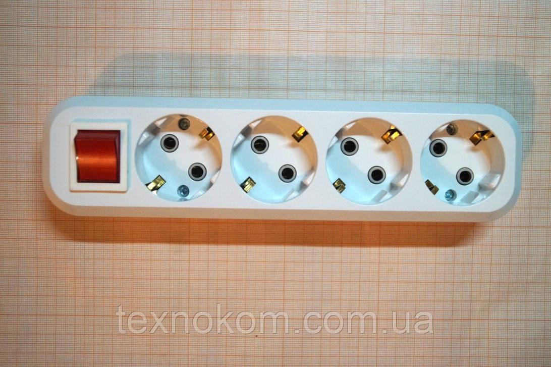 Колодка сетевая 220В на четыре розетки с выключателем и заземлением