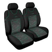 Чохол Sport Line чорний з зеленими вставками (на передні сидіння)