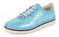 Туфли женские голубые на шнуровке Glam на белой подошве, Голубой, 37