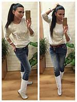 Женский свитер косичка вязка шерсть+акрил белый, фото 1