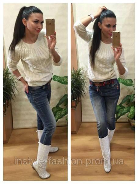 Женский свитер косичка вязка шерсть+акрил белый
