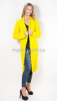 Вязаный длинный кардиган Лало желтый размер 46