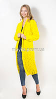 Вязаный длинный кардиган Лало желтый размер 48
