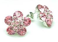 СГ1550-16 Серьги с св.-розовыми камнями