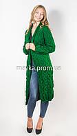Вязаный длинный кардиган Лало зеленый размер 46-50