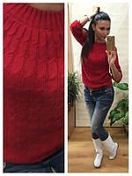 Женский свитер косичка вязка шерсть+акрил красный, фото 1