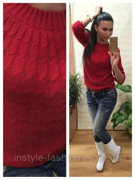 Женский свитер косичка вязка шерсть+акрил красный
