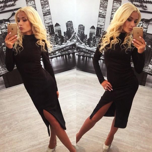 Платье по колена с разрезами фото