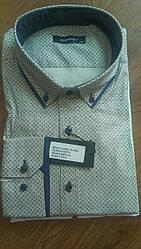 Елегантна Чоловіча сорочка полупритал великого розміру DERGI довгий рукав трансформер батал №7130-2