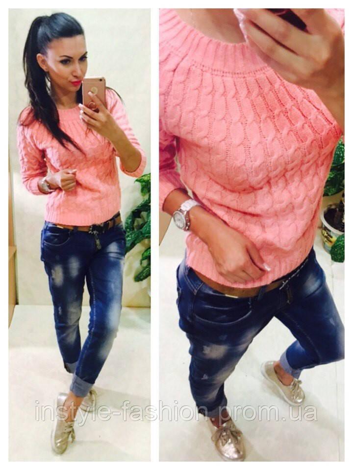 Женский свитер косичка вязка шерсть+акрил розовый