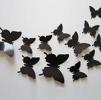 3D бабочки наклейки 12 шт черные 50-120 мм