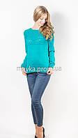 Кофта пуловер женская трикотаж бирюза Кристина р.46