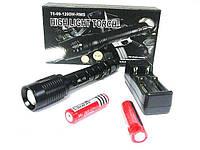 Фонарь с T6 диодом. Тактический фонарик  AL-X3-T6, 8000w, аккумуляторный, +стробоскоп, режим SOS.