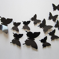 3D бабочки наклейки 12 шт черные 50-120 мм (товар при заказе от 200 грн)