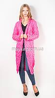 Вязаный длинный кардиган Лало розовый размер 46
