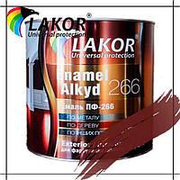 Эмаль алкидная ПФ-266-К Lakor красно-коричневая для пола 0.9 кг, 2.8 кг, 20 л, 50 л (55 кг)