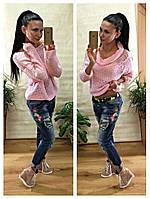 Женский свитер хомут крупная вязка-мохер цвет розовый