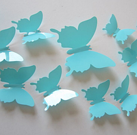 3D бабочки наклейки 12 шт голубые 50-120 мм (товар при заказе от 200 грн)