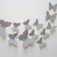 3D бабочки наклейки 12 шт серые 50-120 мм