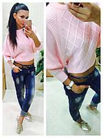 Женский свитер короткий машинная вязка розовый
