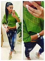 Женский свитер короткий машинная вязка зеленый