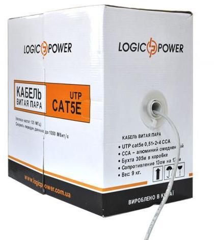 Кабель UTP, CCA, для внутренней прокладки, 4x2x0,48 мм, LogicPower, бу