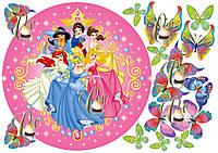 Печать вафельной картинки Все принцессы дисней на торт