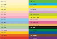 Таблица с палитрой цветной бумаги Spectra Color